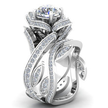Fashion 2pcs Silver color AAA zircon Lotus Party Set of rings 6/7/8/9/10 Size Copper Rings for Women Anniversary Gifts Jewelry