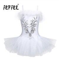 IEFiEL חדש חרוזים ספגטי רצועת נצנצים ריקוד פורמליות שמלות לילדים בנות שמלת טוטו בגד גוף רקדנית בלט 3D פרח