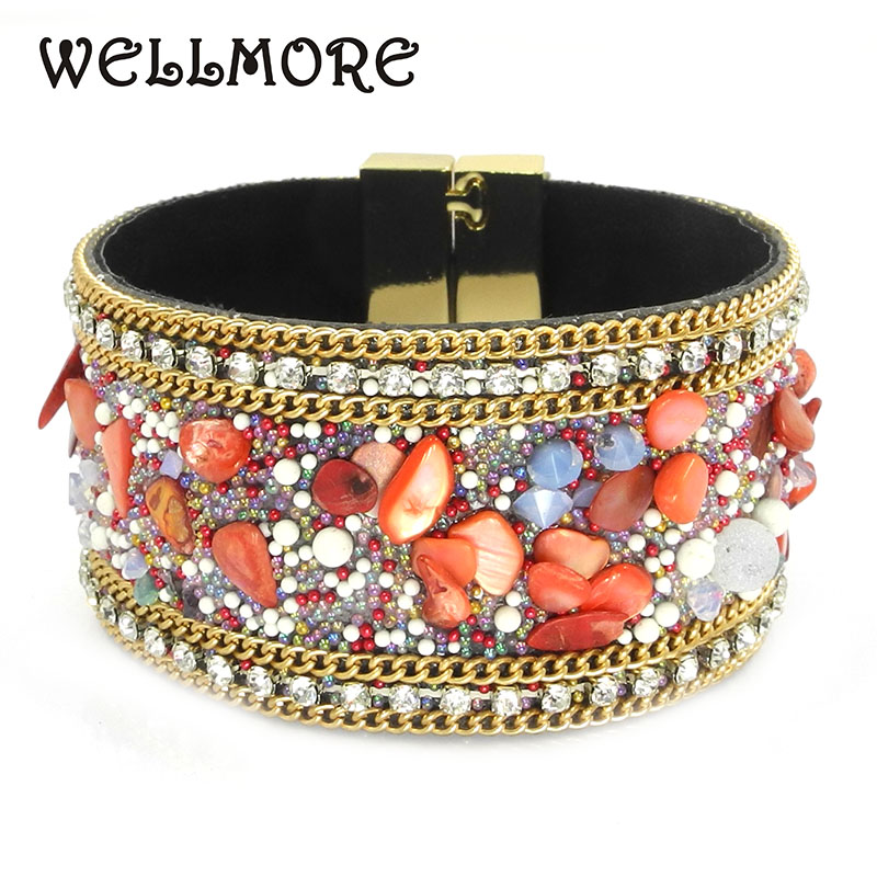 red leather bracelets Crystal Stones women charm bracelets & bangles good gift for women jewelry wholesale B1606