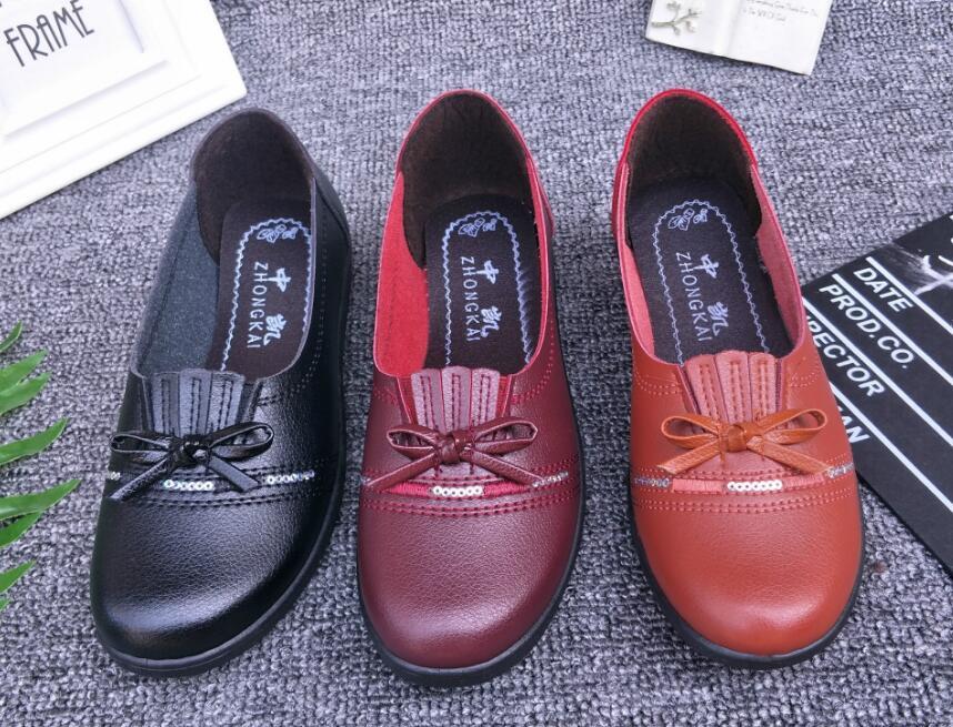 Negro naranja Nuevos Primavera De Y Nueva La Planos Zapatos 36 Edad Madre Tamaño Boca Mediana 2019 Baja rojo Otoño D339 Mujer 41 wxHASn