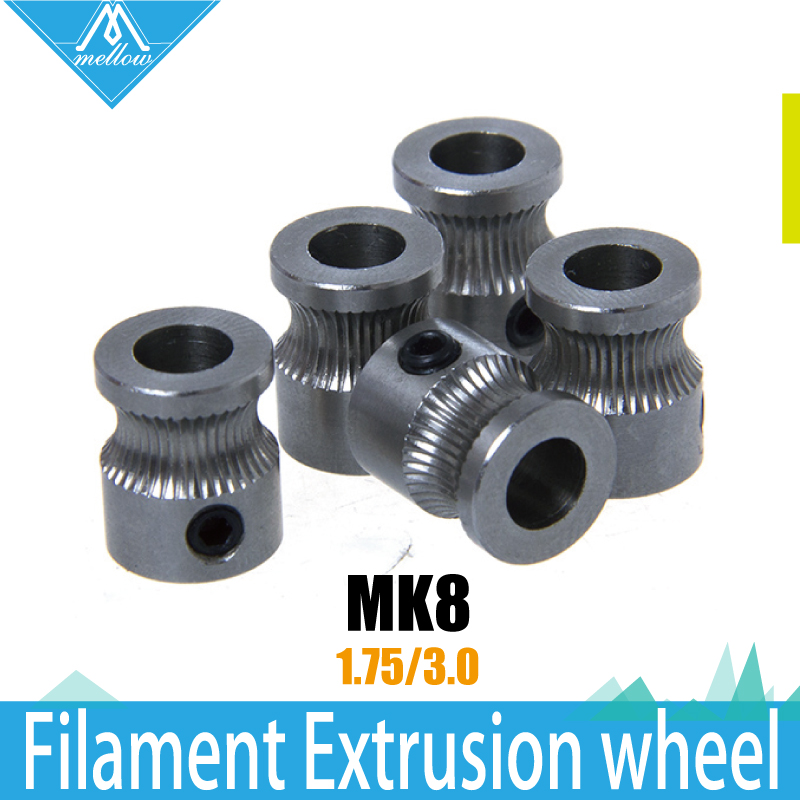 9*5*11mm MK8 Extrusion Gear 1.75/3MM for Reprap Makerbot 3D Printer Accessories Concave extruder  driver Wheel Gear Feeding 5pcs 3d printer accessories cable ferrules for makerbot with high quality