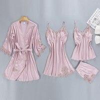 Sexy Women's Robe Gown Sets Lace Bathrobe Night Dress 4 Four Pieces Sleepwear Faux Silk Robe Femme Sleep Set