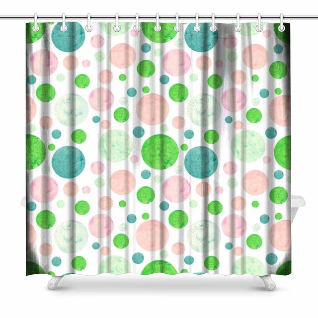 Aplysia Bright Green Blue And Pink Polka Dots Polyester Fabric Bathroom Shower Curtain Set 72 Inches