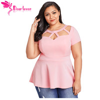 Dear Lover vrouwen shirt Zomer 2018 Grote Dames Kleding Roze Plus Size Caged Tops Casual Zwart Blouse Femme 4XL Blusas LC250752