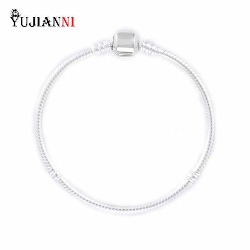 Authentic 925 Sterling Silver Snake Chain Bracelet LOGO Can Be Customized For Original Charms Beads Woman Jewelry