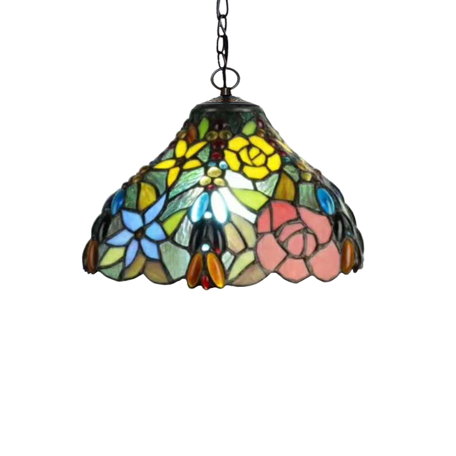 European Garden American Rustic Rural Green Plant Rose Flower Stained Glass Hanging Pendant Lamp Light Country Farmhous Decor european standard 25ft home garden flexible natural latex water pipe green