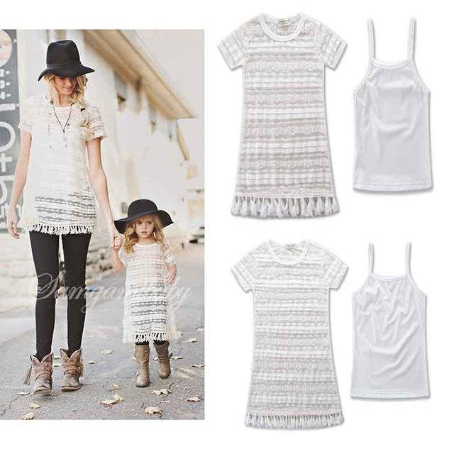 Mom and Baby Lace Dress Mother Daughter Princess Dresses Family Matching Clothes Baby Girls and Mommy Short Sleeve Dresses Set