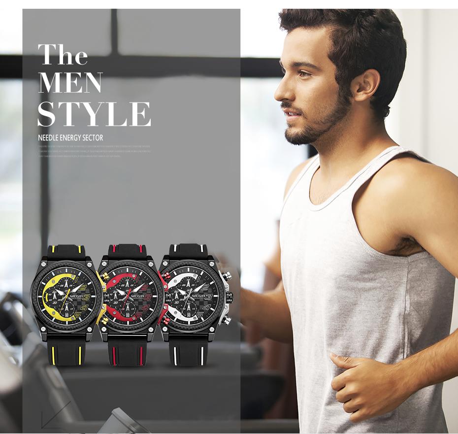 Topdudes.com - MEGIR Creative Chronograph Silicone Military Wrist Watch
