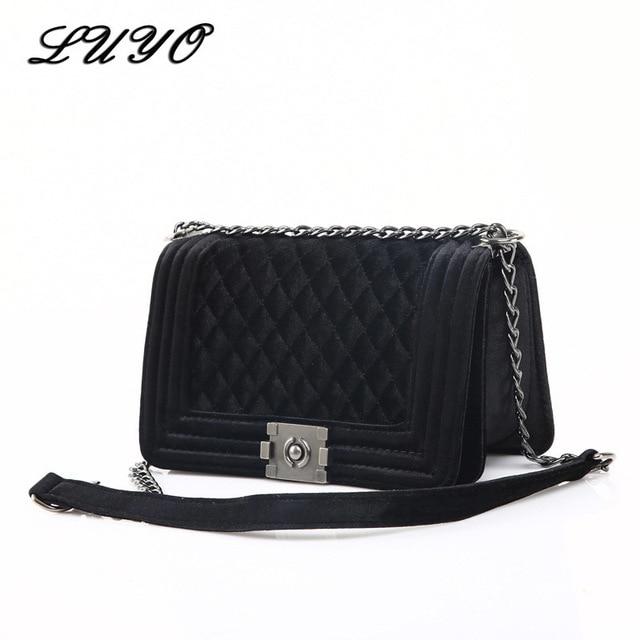 Luyo 2017 Fashion Winter Velvet Chain Women Messenger Bags Female Leather Suede Designer Handbags High Quality