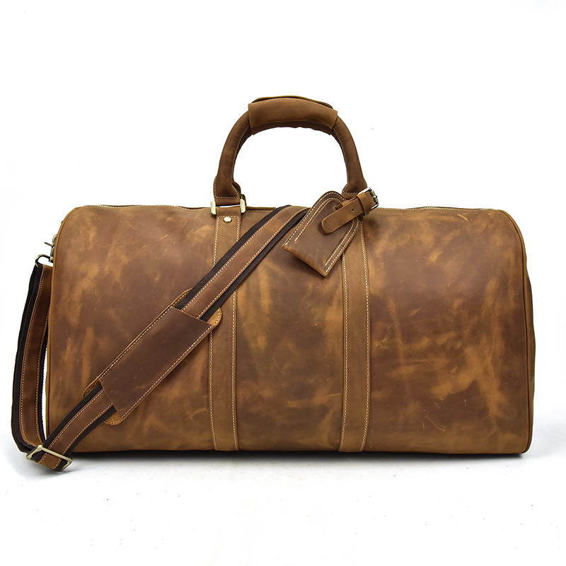 Men travel duffel Vintage crazy horse genuine leather travel bag large capacity 20 carry on overnight