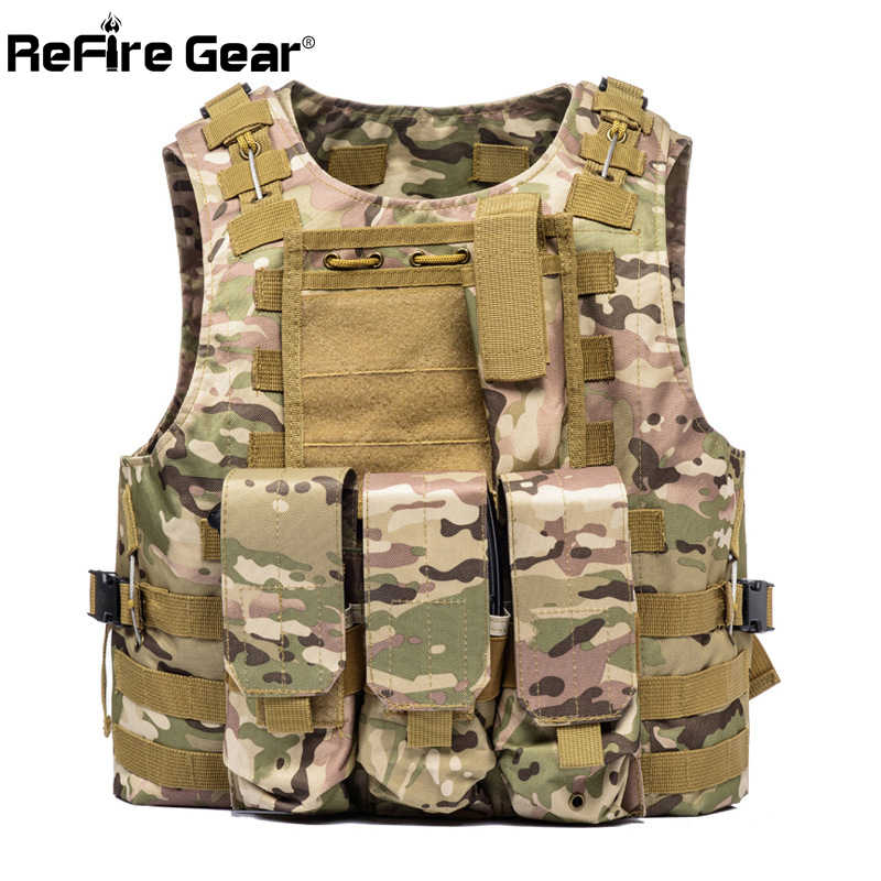 Chaleco táctico de combate del ejército de Molle ReFire Gear, chalecos de camuflaje de uniforme militar de soldado de EE. UU., chaleco de nailon Airsoft para Paintball de bolsillo para hombres