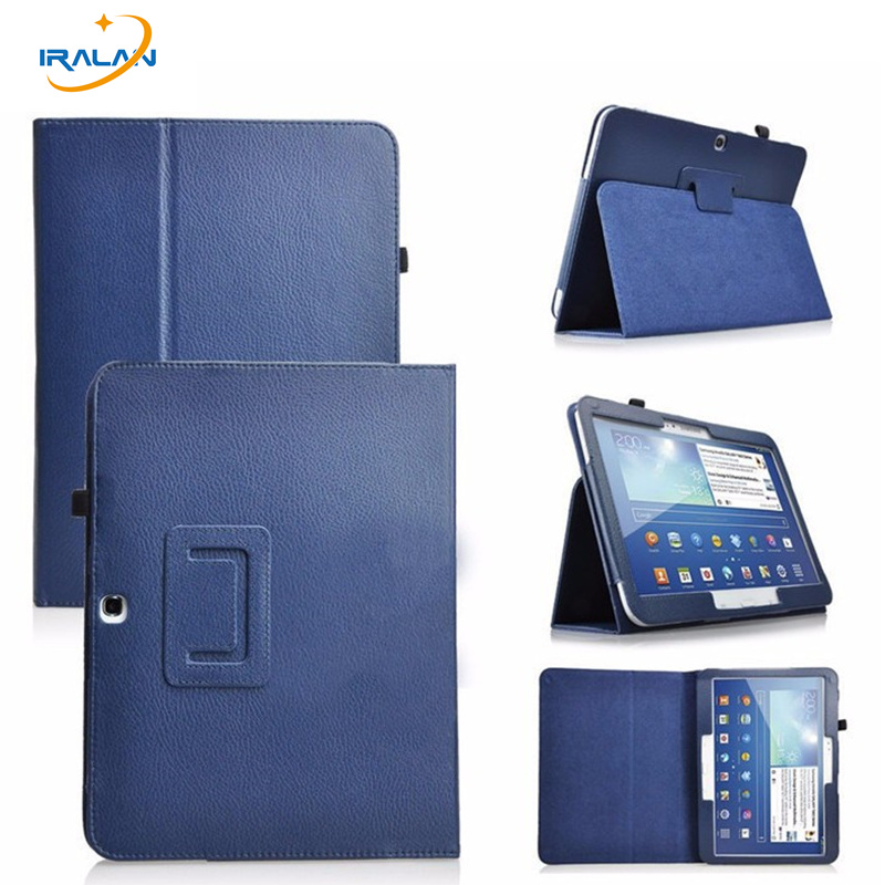 New Litchi pattern 2-fold PU Leather Case for Samsung Galaxy Tab 3 10.1 P5200 P5210 P5220 Tablet Fold Protective Cover+film+pen ultra thin smart flip pu leather cover for lenovo tab 2 a10 30 70f x30f x30m 10 1 tablet case screen protector stylus pen