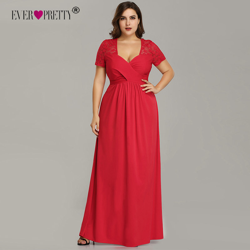Plus Size Evening Dresses With Sleeve Ever Pretty EZ07553RD Elegant A Line V Neck Long Party Gowns Robe De Soiree Longue 2020