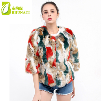 BHUNATI Multicolor Short Faux Fur Coat 3 Quarter Sleeve Colorful Overcoat Artificial Ribbit Fur Furry Fluffy Jaqueta Femme