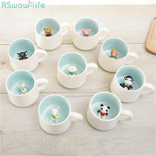Creative Ceramic Mug Cute Cartoon Stereo Animal Milk Coffee Cup Couple on Water Childrens Birthday Gift