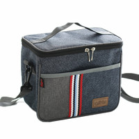 Denim Shoulder Ice Cooler Bags Leisure Women S Kid S Picnic Lunch Pouch Box Insulated Pack