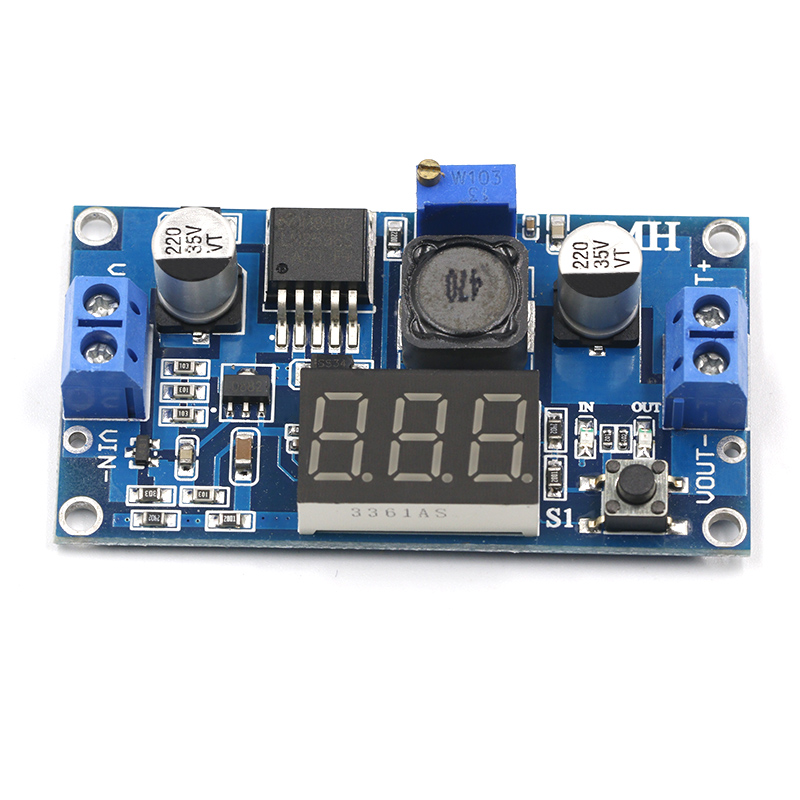 LM2596 BUCK 3A DC-DC Voltage Adjustable Step-Down Power Module + Blue LED Voltmeter