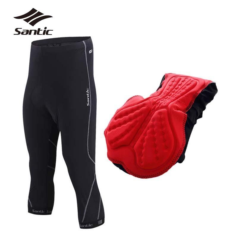 все цены на SANTIC Cycling Shorts Men 4D Coolmax Padded 3/4 MTB Bicycle Shorts Bermuda Ciclismo Downhill Road Mountain Bike Shorts онлайн