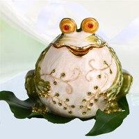 H & D ręcznie malowane ozdoba Box na zawiasach żaba biżuteria ślubna uchwyt na pierścionek  cute zwierząt figurka kolekcjonerska prezent urodzinowy wystrój stołu w Figurki i miniatury od Dom i ogród na