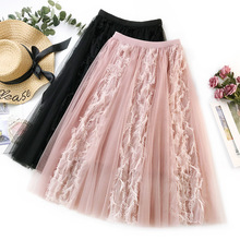 Pleated Skirt Womens Long Maxi Tulle Skirts 2019 Elastic High Waist Tutu Skirt Female Sweet Lace splice Pleated Tutu Skirt недорого