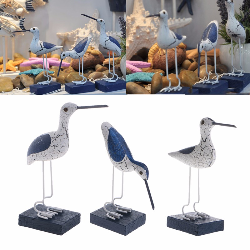 <font><b>Wooden</b></font> Navy <font><b>Seabirds</b></font> Mediterranean Style Sculpture Home Decoration Craft image