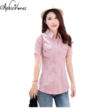 2017 New Striped &Plaid Cotton Shirt Short Sleeve Women Summer Pocket Blouse Cotton Shirt Vintage Cotton Lady Female Blusa
