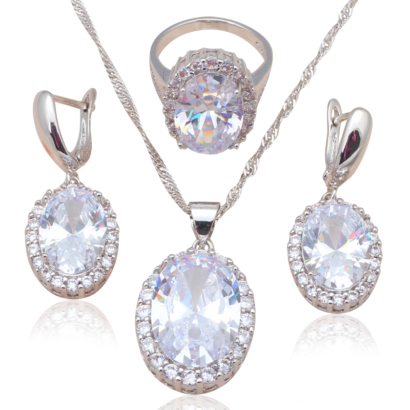 Top Quality CZ Silver Stamped Fashion Jewelry Sets Earring Necklace Ring White Crystal Jewelry Sz 6