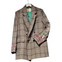 Women Plaid Blazers Suit Ladies Autumn plaid embroidery in the long paragraph loose retro plaid woolen suit jacket female