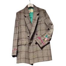 Women Plaid Blazers Suit Ladies Autumn plaid embroidery