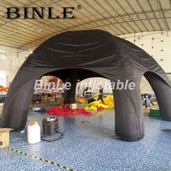 Tienda inflable negra de gran oferta con cubierta extraíble estilo araña tienda de juguete para garaje tienda de campaña inflable para la venta