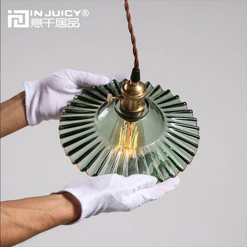 Vintage Retro Glass Pendant Lights Shades Antique Lotus Copper Pendant Lamps Fixtures Cafe Bar Living Dining Rooms Droplights