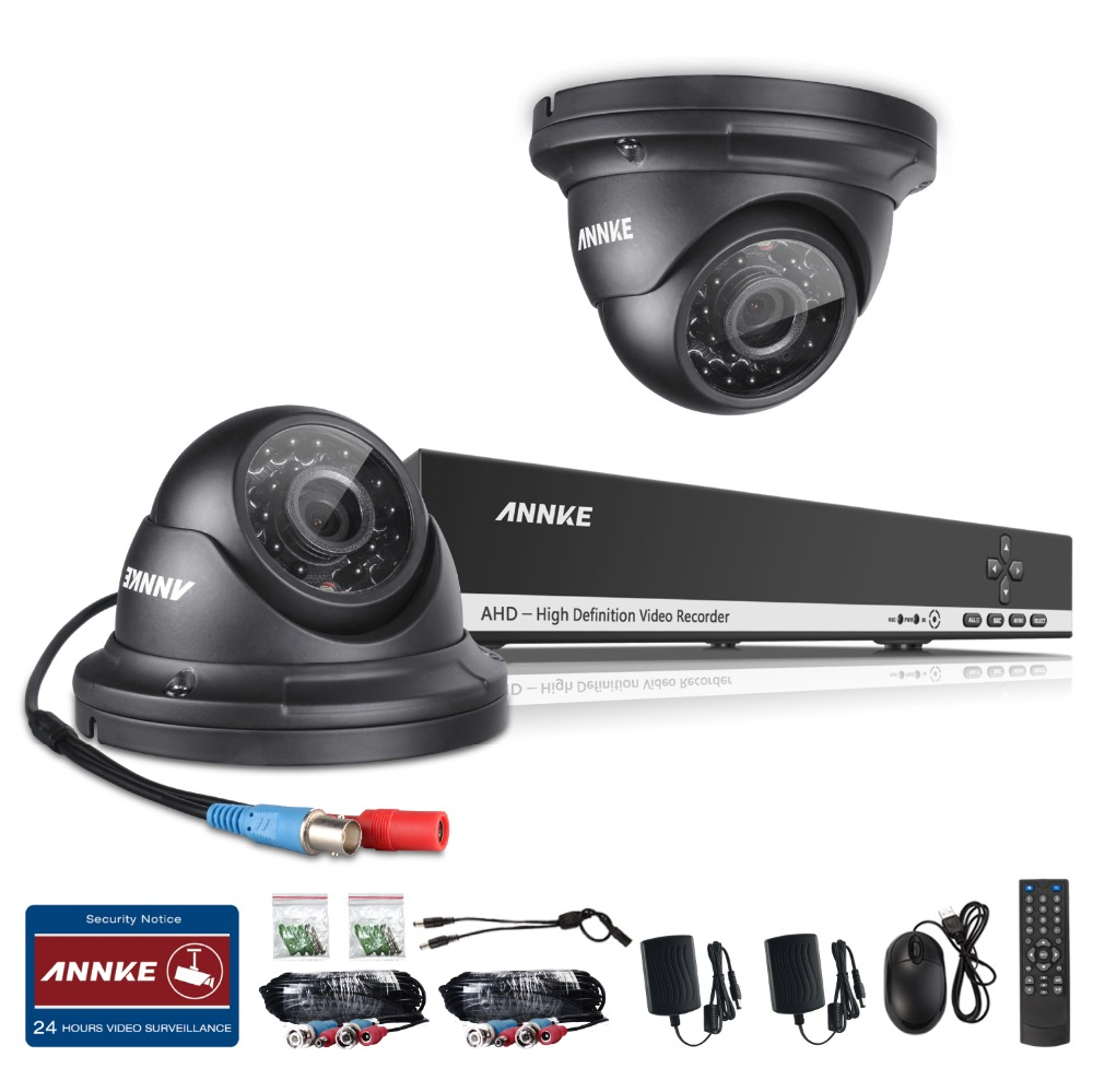ANNKE 720P Home Security CCTV System HD 1080N 8CH DVR 2PCS 1.0MP AHD CCTV Camera Video Surveillance Kit Remote View