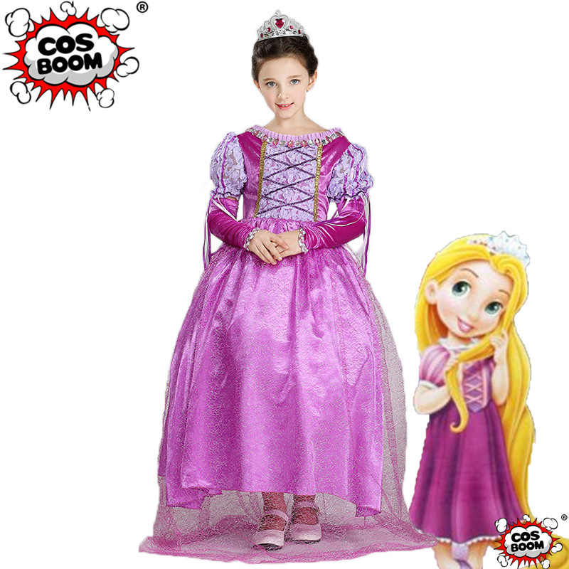 COSBOOM Girls Rapunzel Princess Dress Tangled Cosplay Costume Kids Party Fancy Dress Princess Rapunzel Halloween Costume