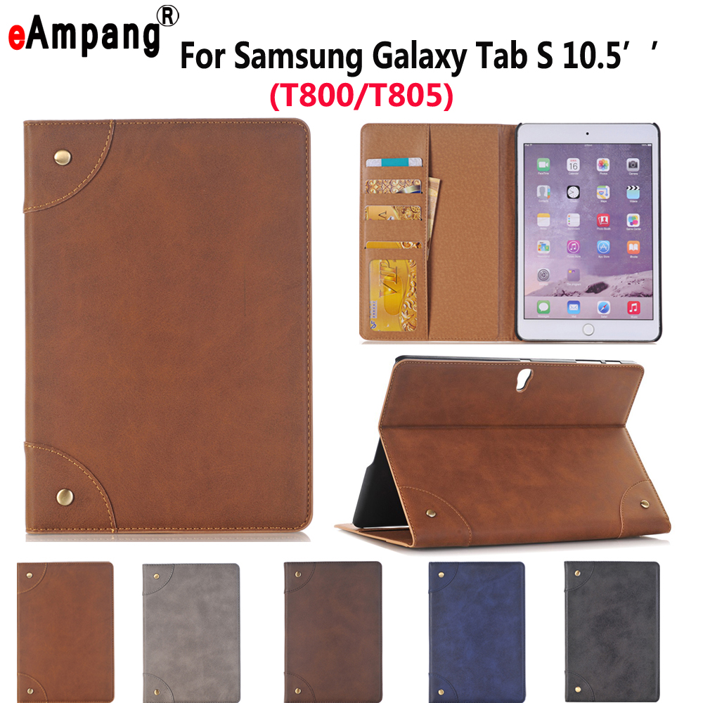 Leather Case For Samsung Galaxy Tab S 10.5 T800 T805 Cover Luxury Business Slim Smart Sleep Stand Flip Card Slot Tablet Shell srjtek 10 5 for samsung galaxy tab s t800 t805 sm t800 sm t805 touch screen digitizer sensor glass tablet replacement parts
