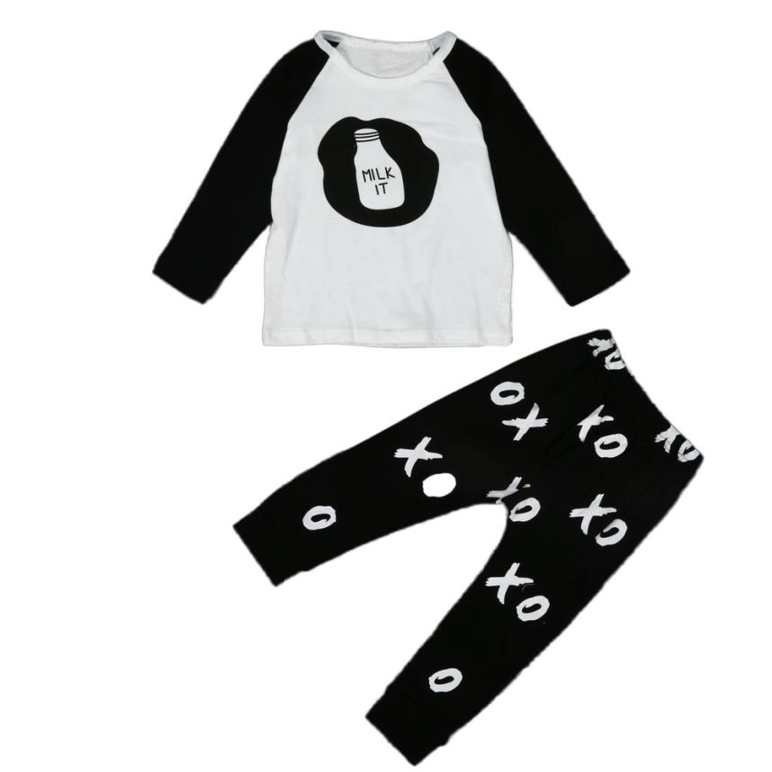 2018 Toddler Infant Baby Boys Girls Printing Clothes T-shirt+Long Pants Outfits Set Comfortable And Breathable 5.28 ...