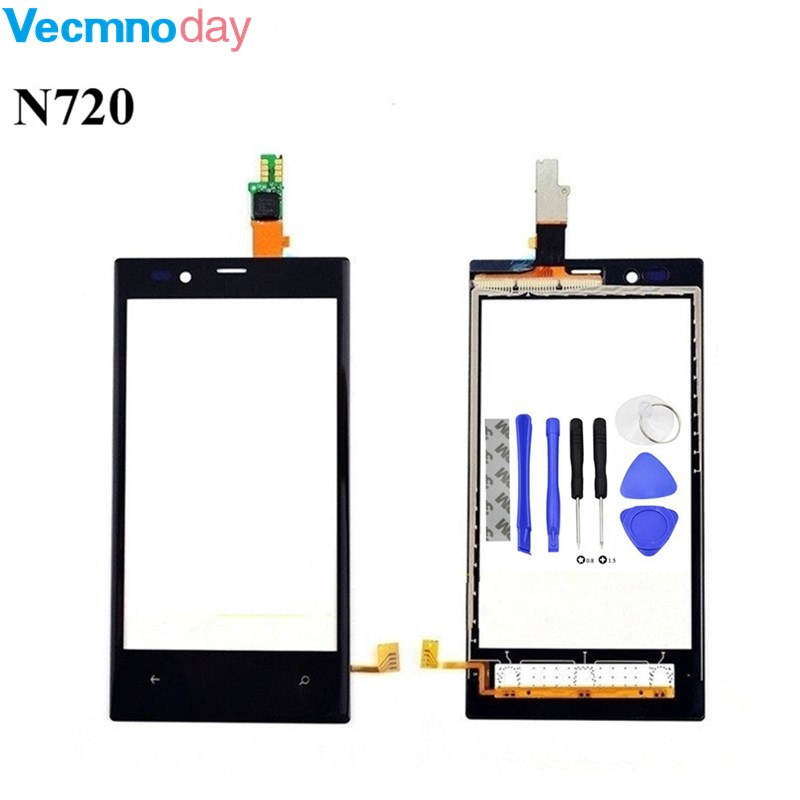 Vecmnoday Touch Screen Front Digitizer Glass For Nokia Lumia 720 N720 Touch Panel Accessories With Sensor + Tools
