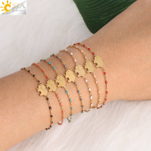 CSJA Gold Stainless Steel Bracelets Bangles Elephant Charms Chain & Link Bracelet for Girl Simple Beads Adjustable Jewelry S411