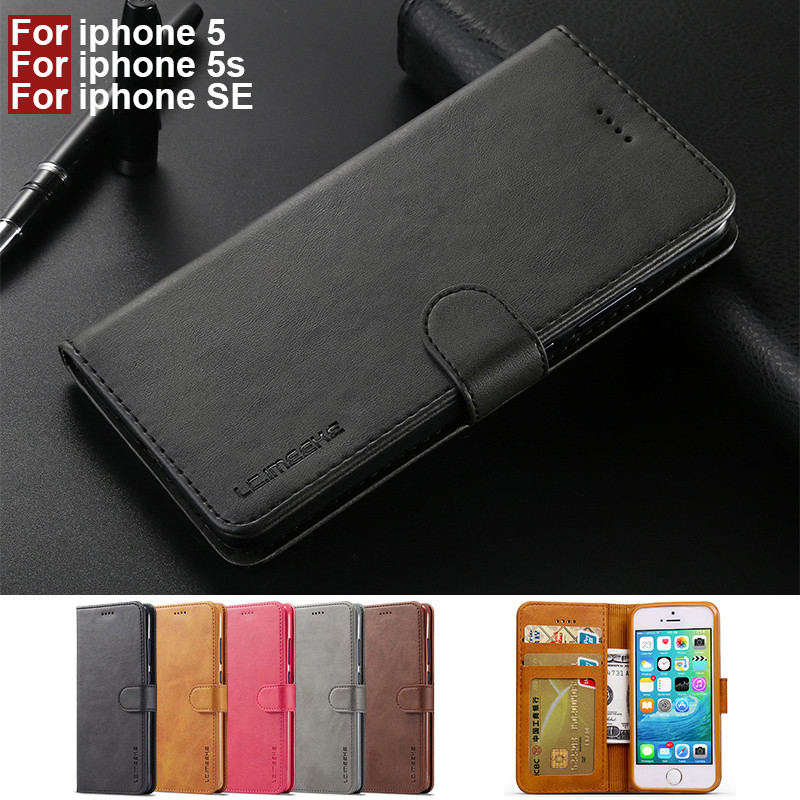 For Telefoon Hoesje iphone SE Case Leather Vintage Phone Cases On iphone 5s Case Flip Wallet Cover For i phone 5 Apple Case Book