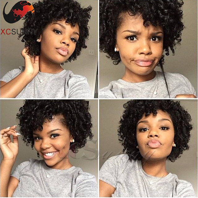 Cute Girl Natural Hairstyles Virgin Hair Wig Natural Curly Lace