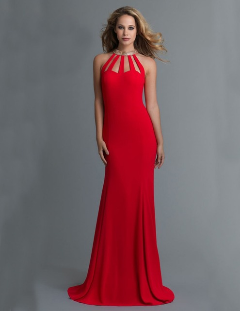 Long Corset Red Mermaid Prom Dress 2015 High Neck Plus Size Formal