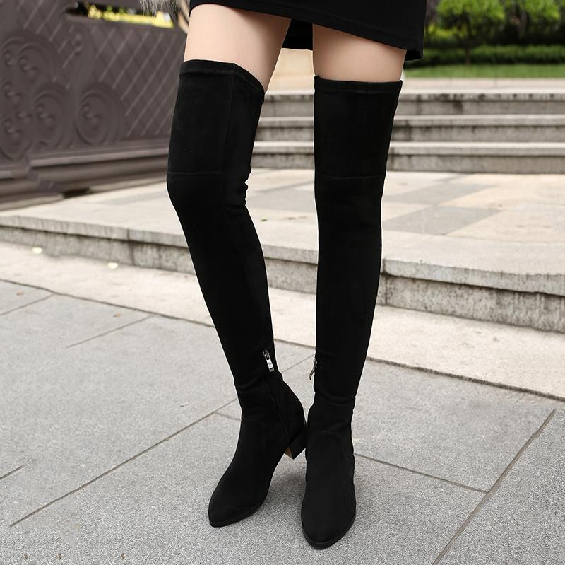 be29596796f Ladies Suede Square High Heel Over the Knee Boots Fashion Slip On Square  Toe Fall Winter Women Stretch Thigh Boots Black
