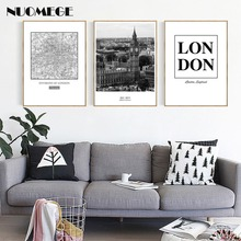London City Black And White Style Landscape Letter Canvas Painting Poster And Print Wall Picture For Living Room Home Decoration