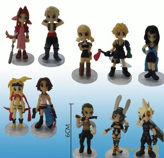Free shipping 10pcs PVC Final Fantasy action figure toys tall 5cm set.Action figure toy is or isn't keychain for you choose
