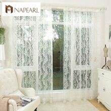 Blanco panel de cortina de tul pura cortina de hilo ventana persianas cortinas de la cocina de tul organza telas jacquard blanco
