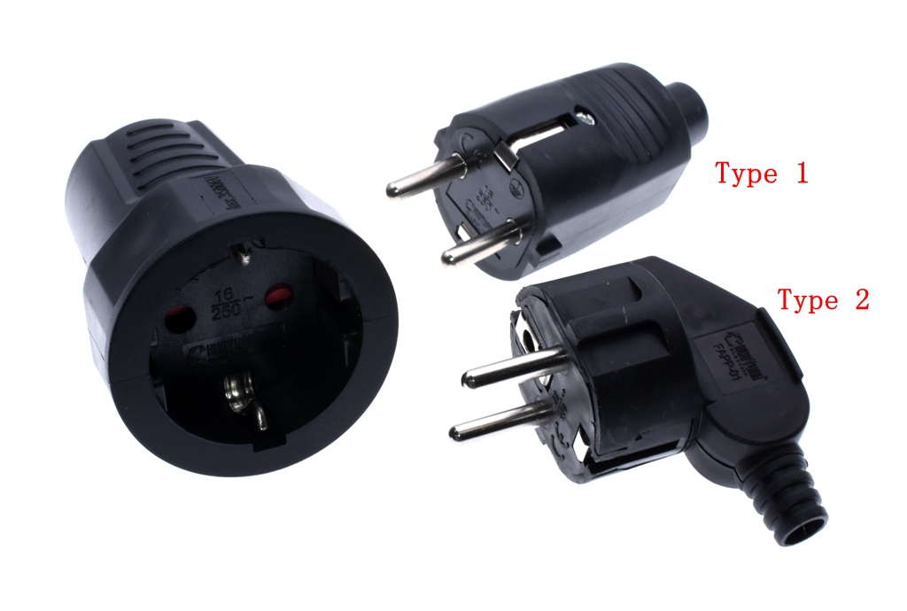 EU Germany Female To Male  AC Power Adaptor Socket,Schuko CEE7/7 Plug To  CEE7/3 Outlet For Home Wiring