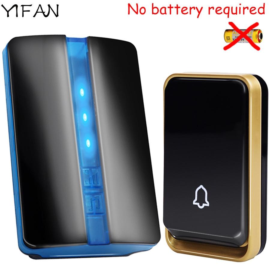 YIFAN Nouveau Sans Fil Sonnette PAS de batterie Étanche UE Plug led 150 M longue portée intelligent Sonnette De La Porte 1 2 bouton 1 2 récepteur