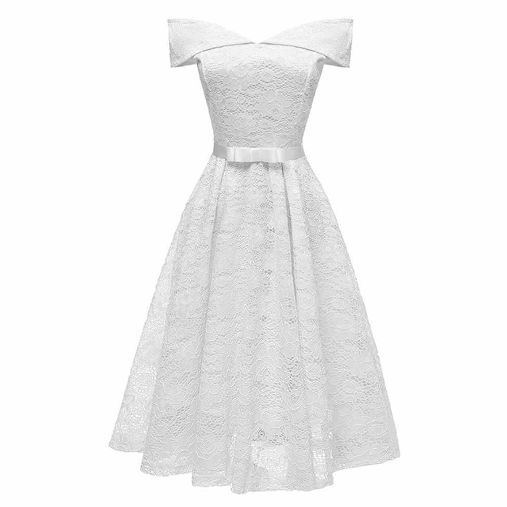 Joineles, 8 однотонных цветов, женское бальное платье, вечернее платье, сексуальное, с открытыми плечами, с рукавами, с бантом, кружевное ретро платье, ремни, 60 s, винтажное платье, Халат