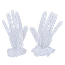 White New Short Bridal Wedding Gloves