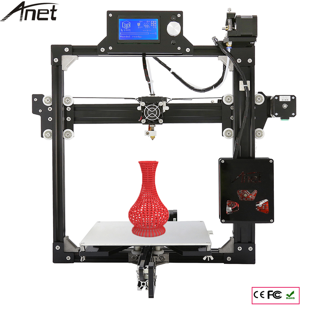 Anet A2 Updrade Aluminium Structure 3D Printer DIY Prusa i3 3d Printer Kit With Hot Bed +LCD Screen +1Roll Filament+ 8GB SD Card