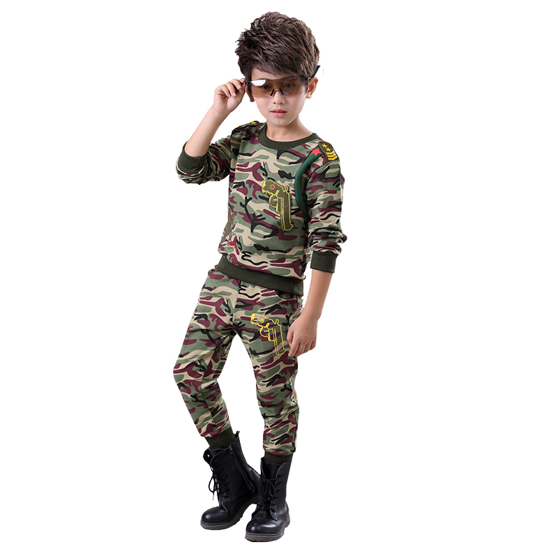 Boys camouflage Tracksuit clothing set 100% Cotton 2pcs for big kids O- neck T-shirt pant clothes suit 4 5 6 7 8 9 10 11 12 year